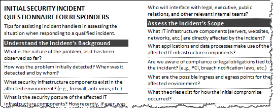 Initial Security Incident Questionnaire - Preview