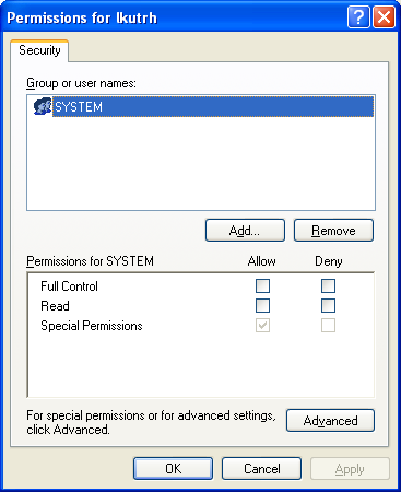 Modified registry permissions