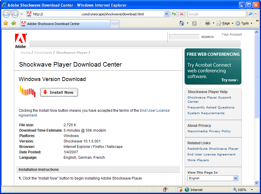 Fake Shockwave Download Center