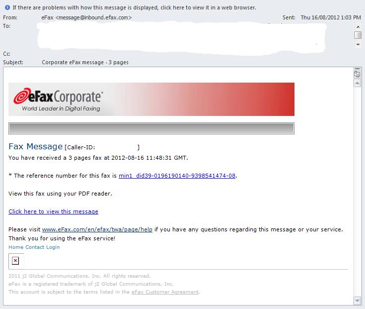 Suspicious eFax Spear Phishing Messages - SANS Internet