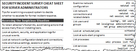 Security Incident Survey Cheat Sheet - Preview