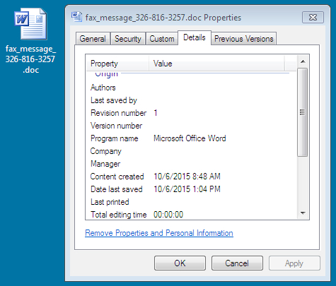Malicious spam with Word document - SANS Internet Storm Center