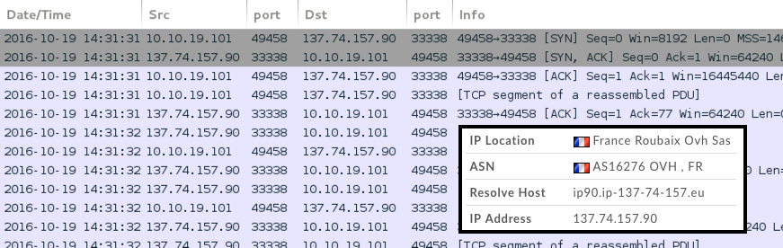 Callback traffic from an infected host shown in Wireshark