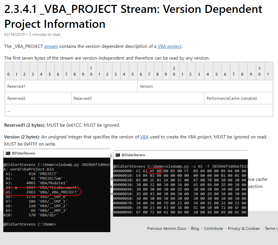 VBA Office Document: Which Version? - SANS Internet Storm Center