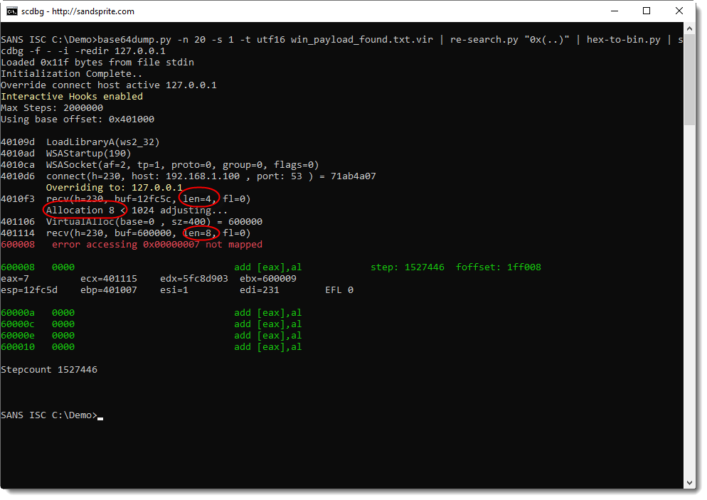 InfoSec Handlers Diary Blog - Analyzing First Stage Shellcode