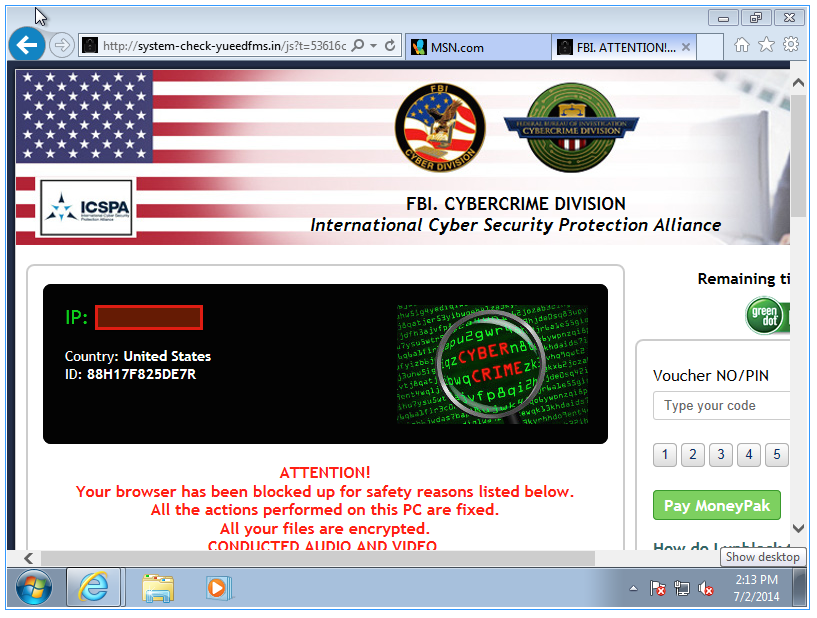 extortion web page