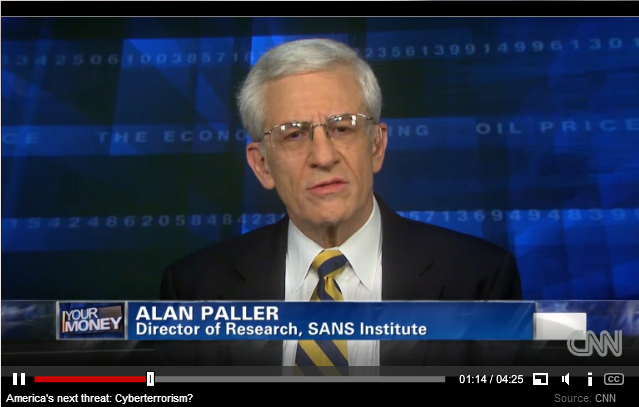 Alan Paller discusses threat of cyberterrorism on CNN's Your Money