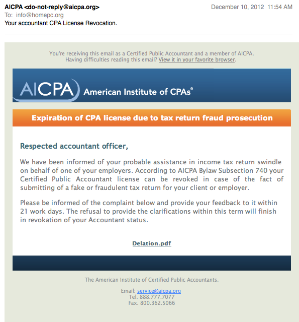 CPA E-Mail Screen Shot