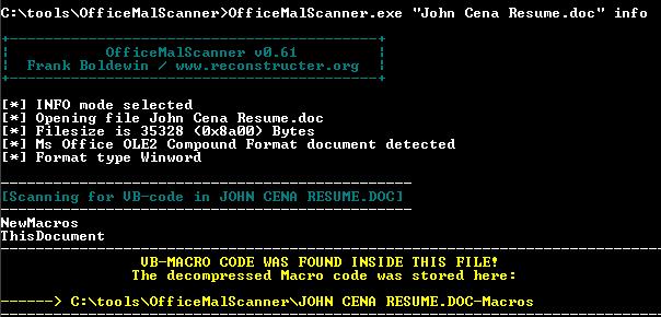 OfficeMalScanner najde kód makra