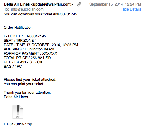Fake Delta Ticket e-mail