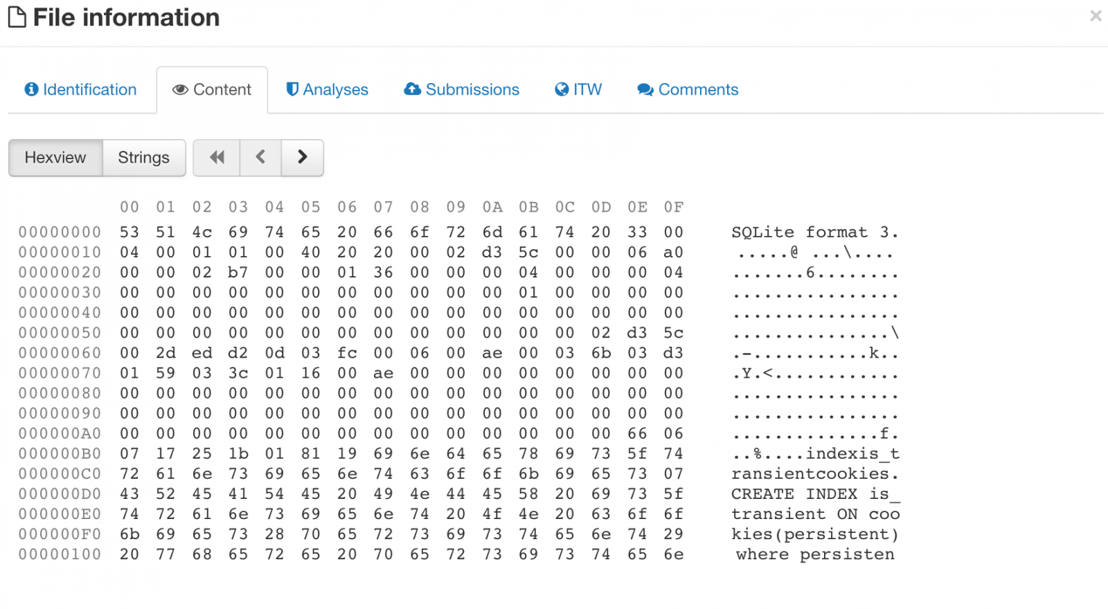 Hex Screenshot from Virustotal