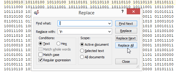 TextPad regex replace