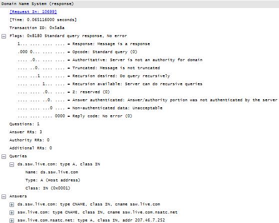 DNS response packet