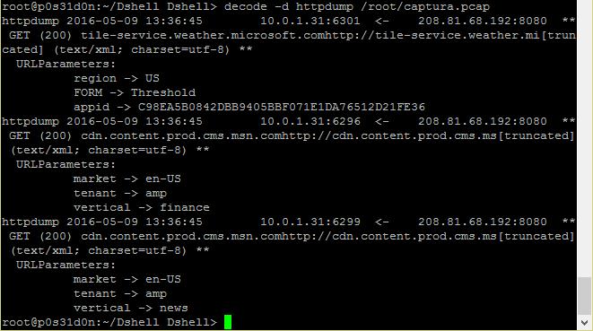Dshell http dump usage
