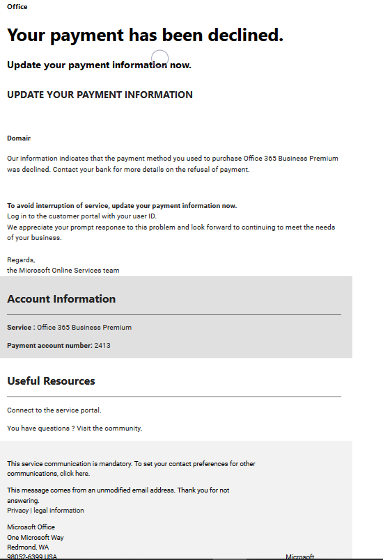 InfoSec Handlers Diary Blog - Fake Office 365 Payment Information Update