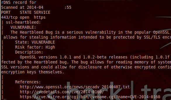 Vulnerable message for heartbleed