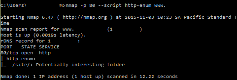 HTTP enumeration with nmap