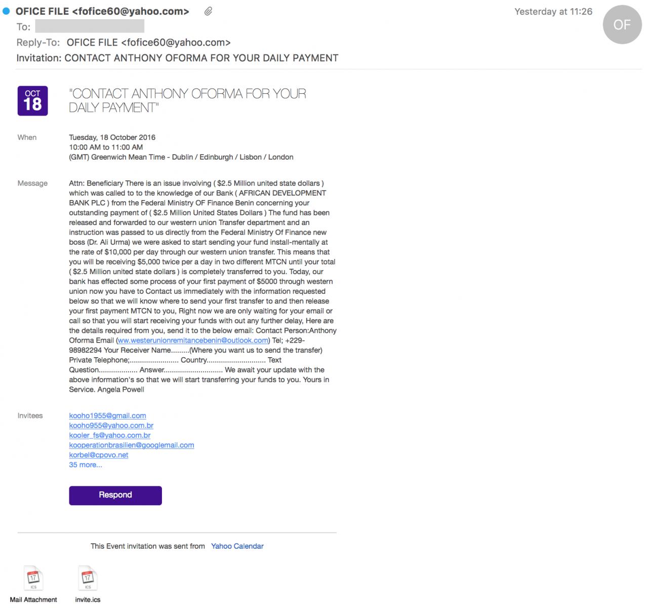 Spam Delivered via  ICS Files - SANS Internet Storm Center