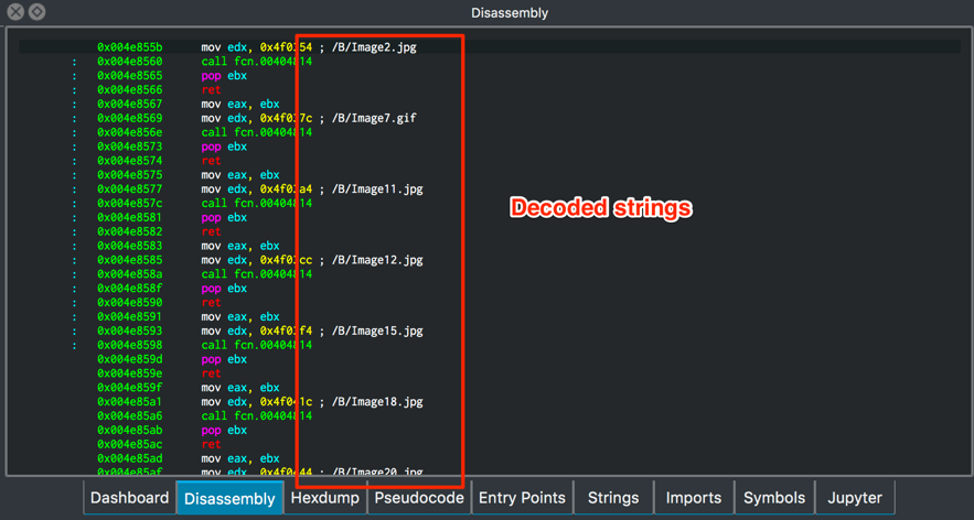 Enriching Radare2 and x64dbg malware analysis with