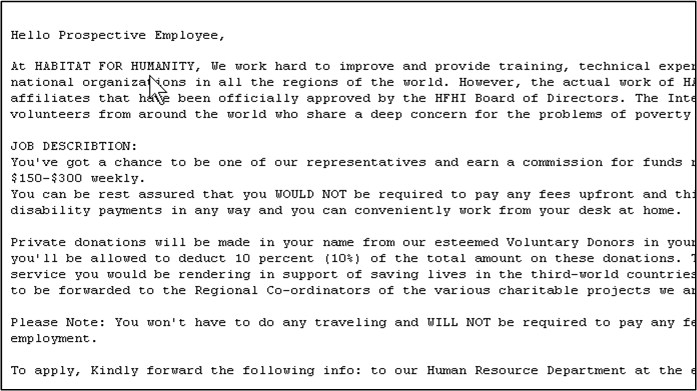 SPAM pretending to be from Habitat for Humanity - SANS Internet
