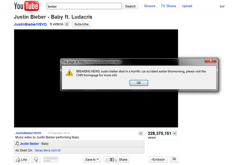 Stored XSS on YouTube